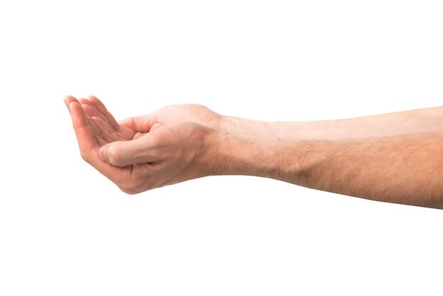 白い背景で隔離の開いた手のひらを持つ手