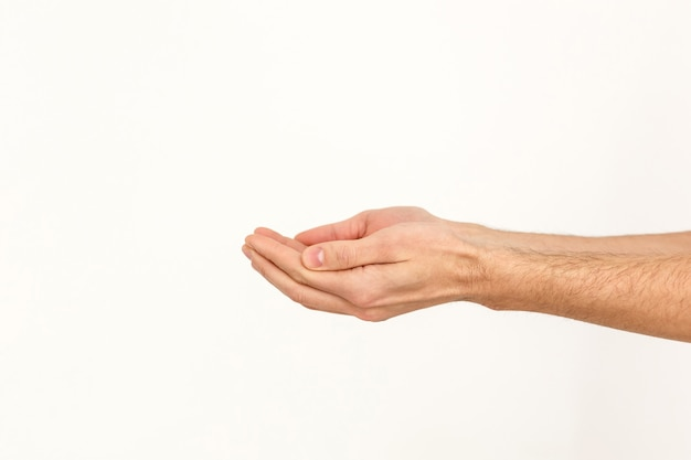 Hand with open palm isolated on white background