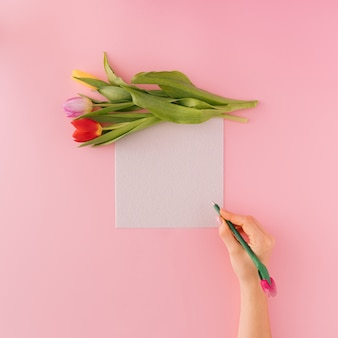 Hand with the pen and white paper and tulips on pastel background. valentine's flat lay copy space.