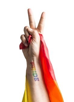 Hand with pride tattoo on wrist