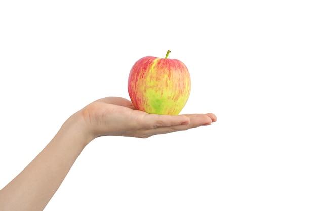 白の背景写真に分離された赤と黄色のリンゴと手