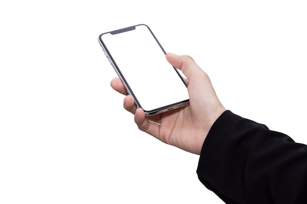 Hand with smartphone of female asian girl on white background isolate, touch on screen