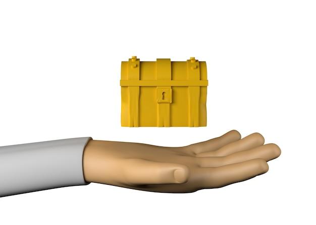 Рука с сундуком с сокровищами. приключение. победить. 3d иллюстрации.