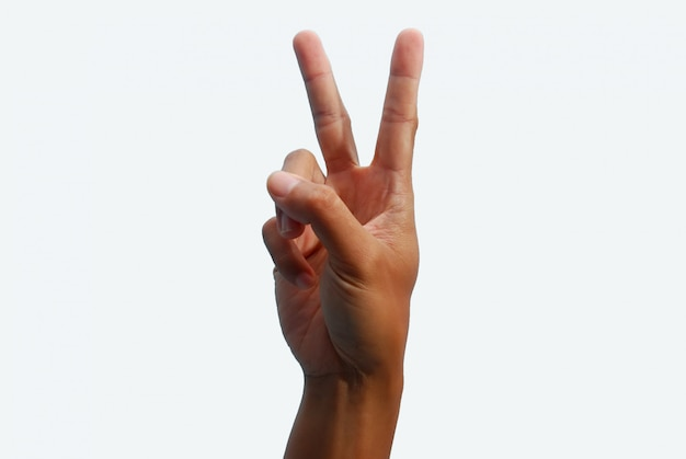 Hand with two fingers up in peace symbol on white