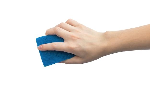 白い背景の写真で隔離の洗浄スポンジを使用して保護手袋のない手