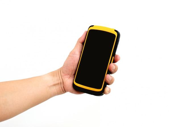 창고에서 패키지 확인 및 스캔을 위해 핸드 워커 홀드 태블릿.
