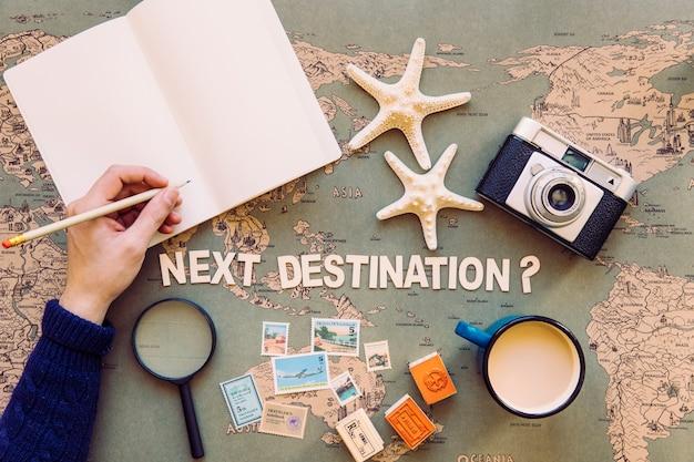 旅行の手荷物の近くの手帳に手書き