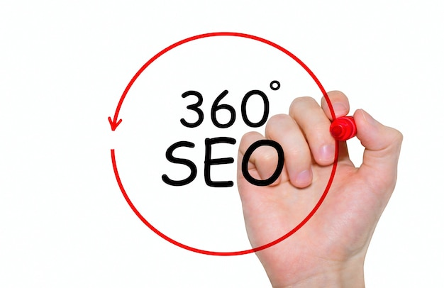Hand writing inscription 360 degrees seo with marker, concept