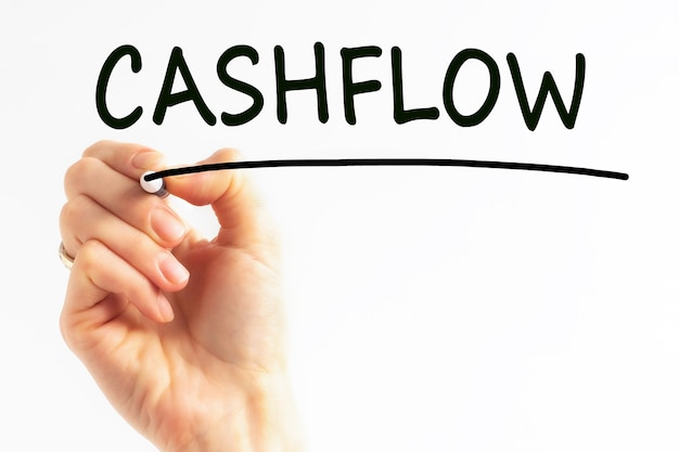 Hand writing inscription cashflow with black color marker, concept, stock image