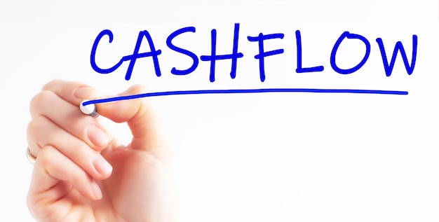 Hand writing inscription cashflow with blue color marker, concept, stock image
