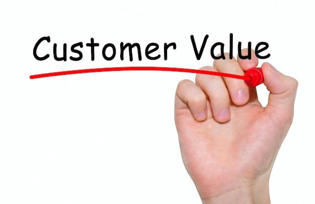 マーカー、コンセプトと手書きの碑文の顧客価値