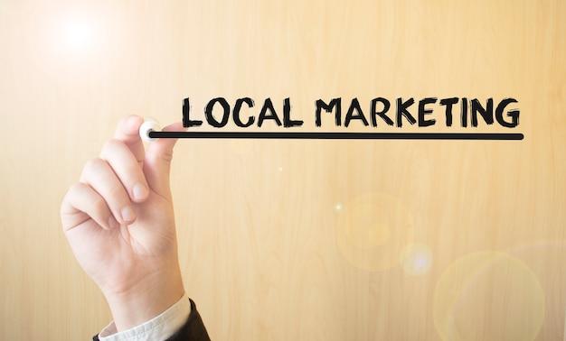 手書きの碑文ローカルマーケティング、マーカー、ビジネスコンセプト