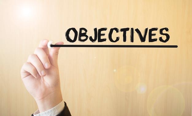 Почерк цели надписи, с маркером, бизнес-концепция