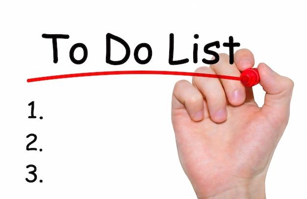 Почерк надпись, чтобы сделать список с маркером, концепция