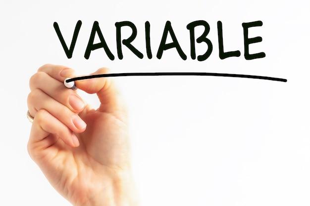 Почерк надпись variable с маркером черного цвета, концепция,