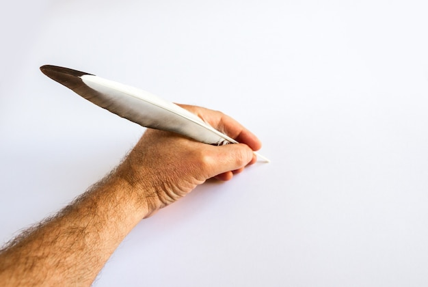 Hand writing with a bird feather isolated on white background