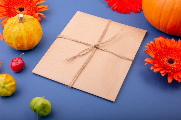 Handcraft gift box with yellow and orange flowers and pumpkins
