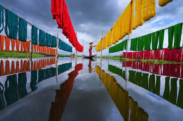 Handcrafted colorful lotus fabrics made from lotus fibers in inle lake