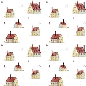 白い背景で隔離のヴィンテージヨーロッパの古い家と手描きの水彩シームレスパターン