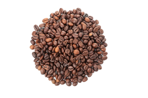 A handful of coffee beans on a white isolated background. close-up. view from above. roasted coffee beans.