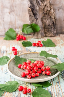 A handful of hawthorn berries with leaves on a plate on a rustic