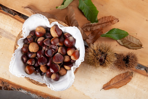 A handful of seasonal chestnuts and their hedgehog on a wooden board with bark, with autumn leaves