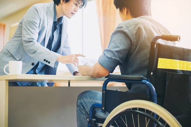 Handicap or disable man can return to work again