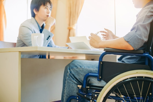 Handicap or disabled man can return to work again