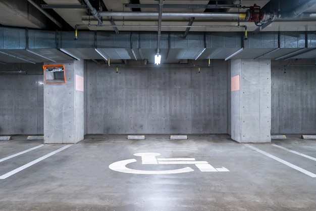 Handicapped  parking garage underground