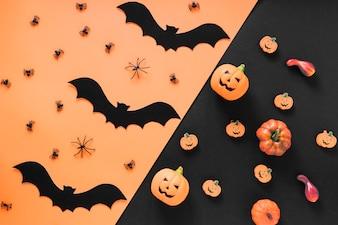 Handicraft bats with spiders and pumpkins