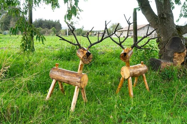 Handicraft wooden reindeer for christmas decoration