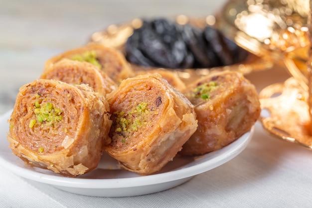 Handmade baklava, traditional turkish pastry close up