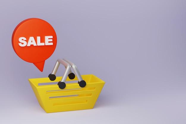 Handmade basket for shopping discounts 3d banner for online sales 3d render