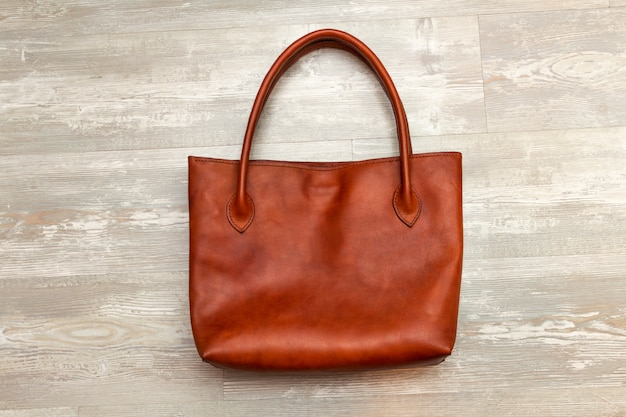 Handmade brown tote leather bag