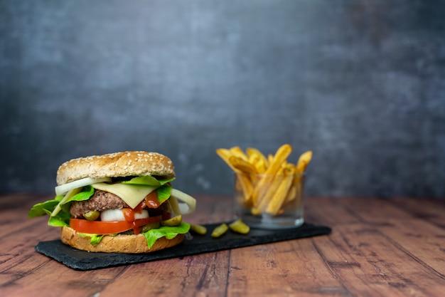 Handmade burger with fries