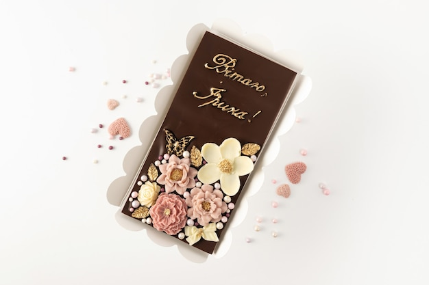 Handmade chocolate from natural ingredients with a floral decor