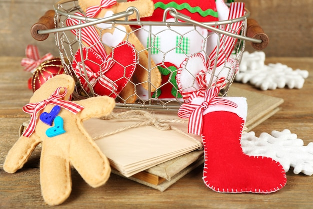 Handmade christmas decorations, old letters on wooden