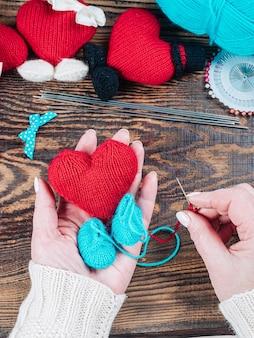 Handmade crochet crafts, knitted amigurumi toys.