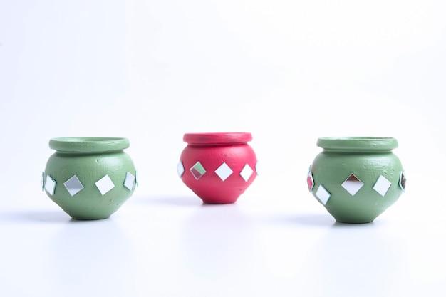 Handmade decorative small clay pot.
