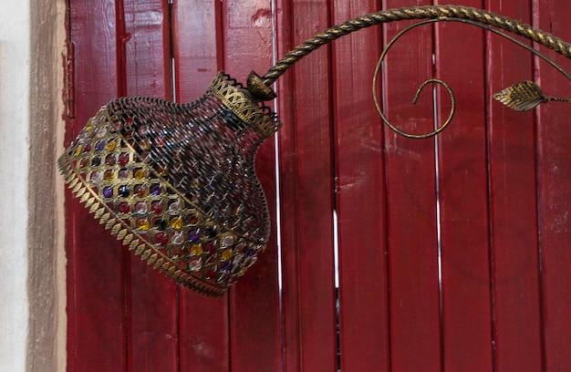Handmade decorative wrought iron lamp