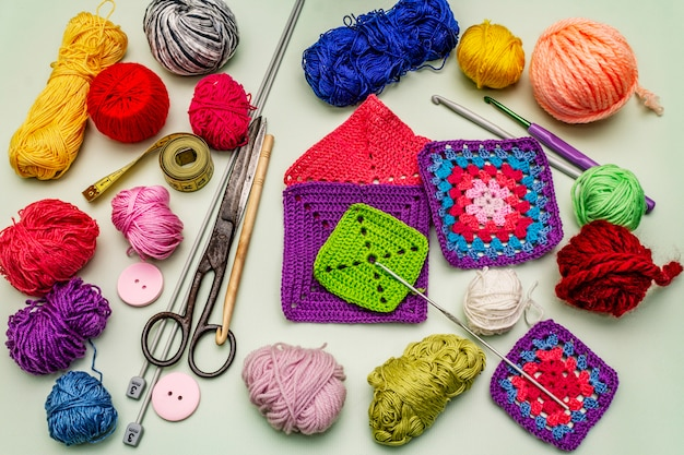 Handmade, diy concept. set of tools and materials for knitting. stay at home in quarantine
