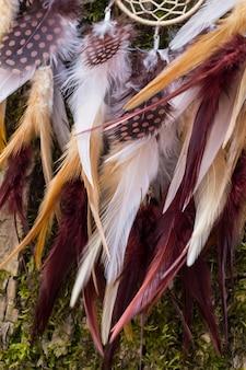 羽糸とビーズロープハンギング付き手作りドリームキャッチャー