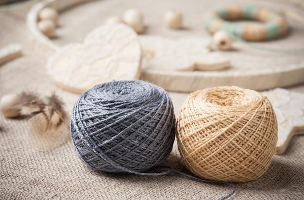 Handmade dream catcher with threads