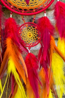 Handmade dreamcatcher with feathers