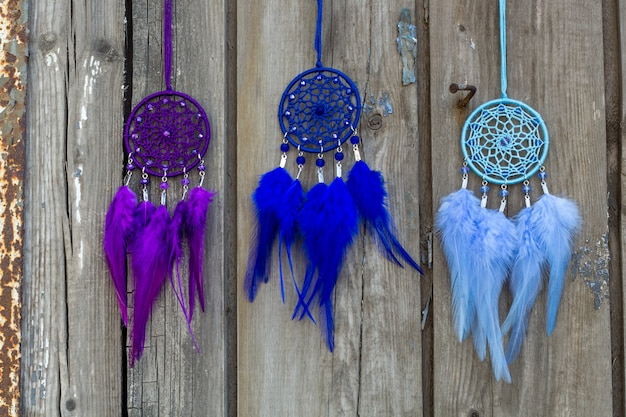 Handmade dreamcatchers with feathers