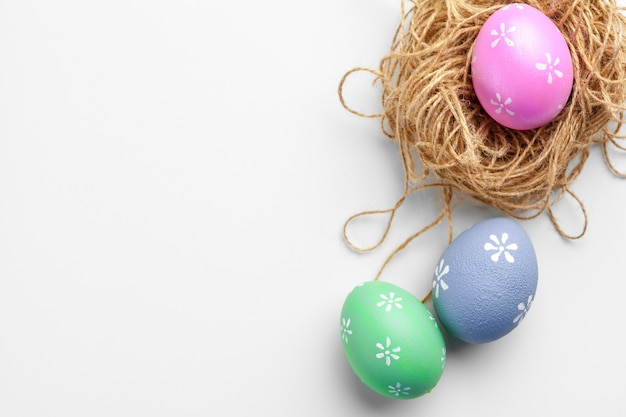 Handmade easter eggs isolated on a white background