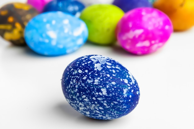 Handmade easter eggs isolated on a white