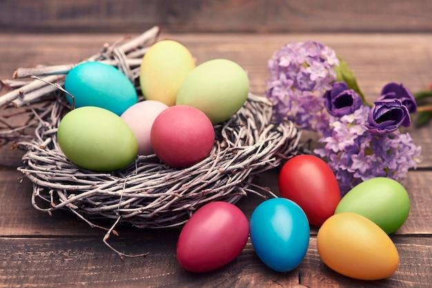 Handmade easter eggs in the nest