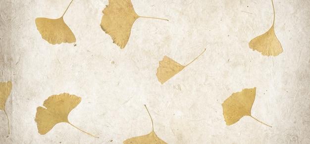 Предпосылка текстуры бумаги лепестка цветка ручной работы. горизонтальный баннер