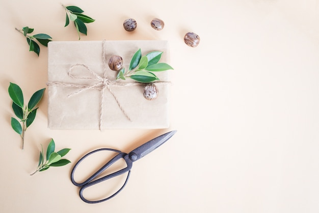 Handmade gift box and scissors,christmas concept top view